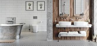 Bathroom ideas: Soft industrial bathrooms
