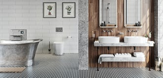 Bathroom ideas: Soft industrial bathrooms