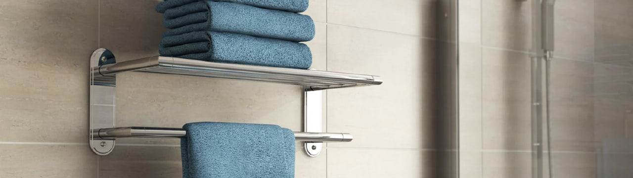 Keeping your bathroom organised with shelves and caddies