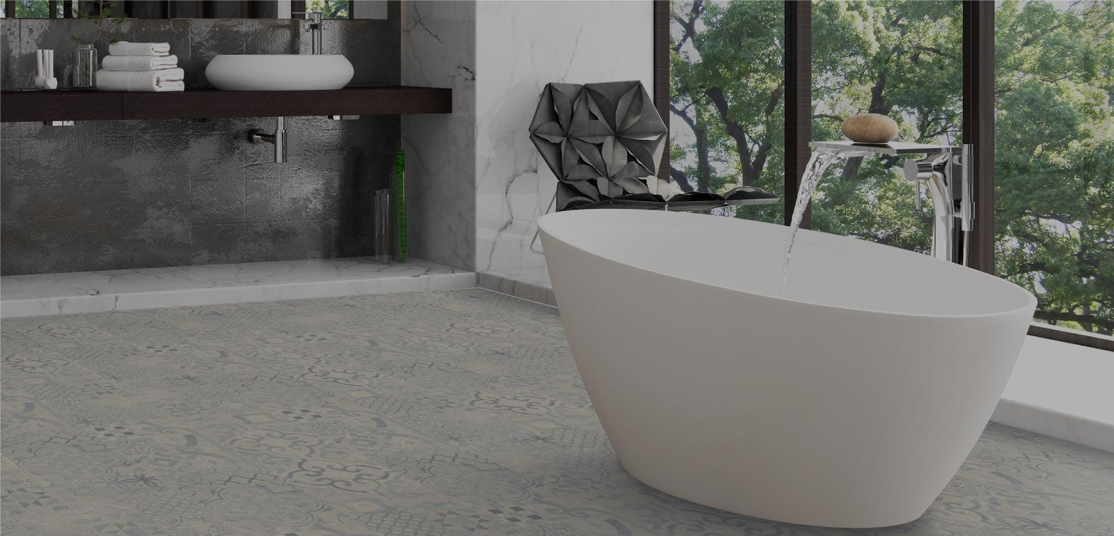 Create beautiful bathroom floors with new, easy-fit laminate and vinyl flooring