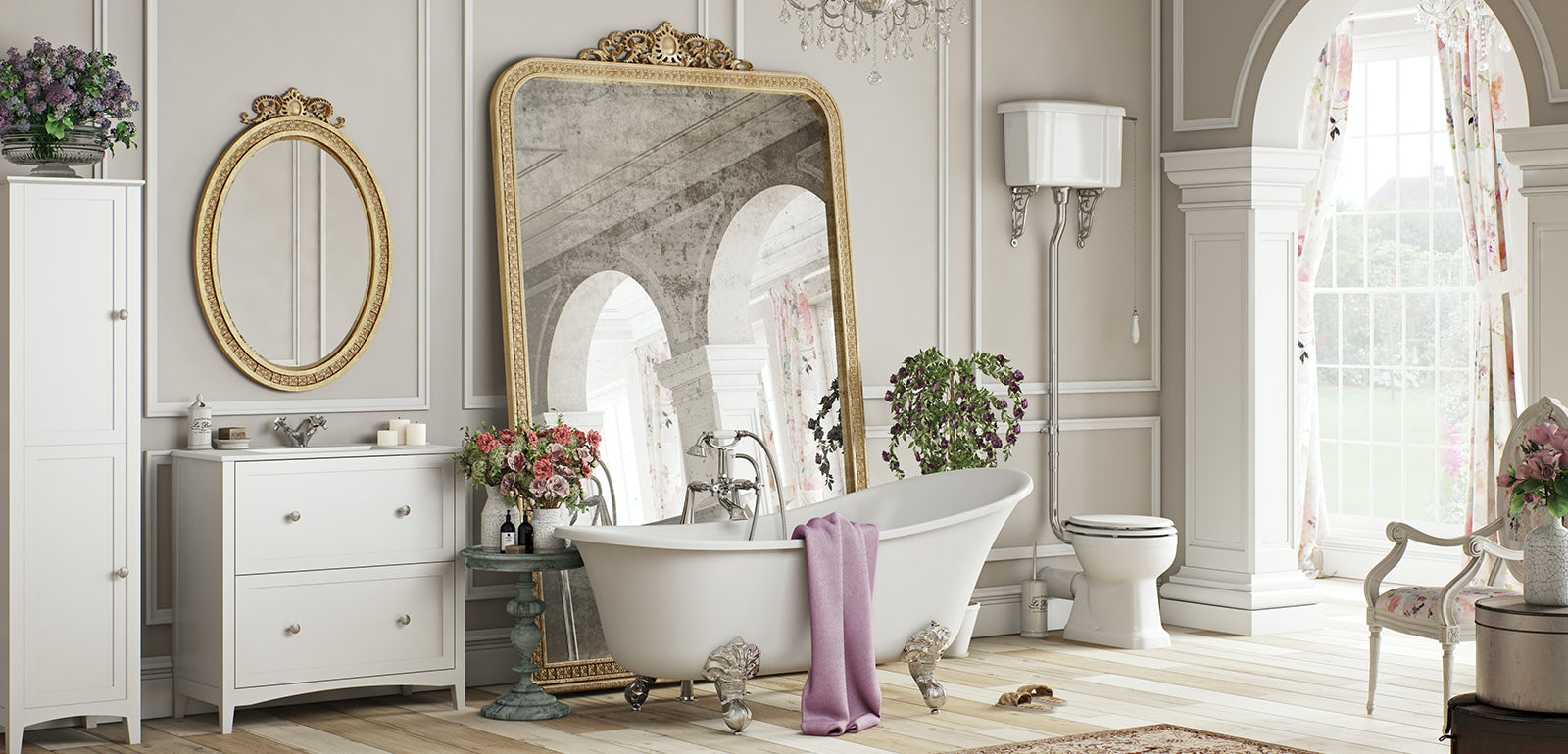 Bathroom ideas: French Floral | VictoriaPlum.com