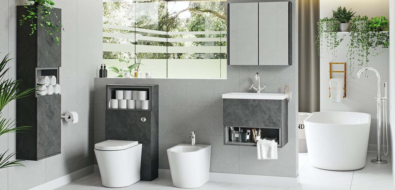Tate II riven grey bathroom furniture