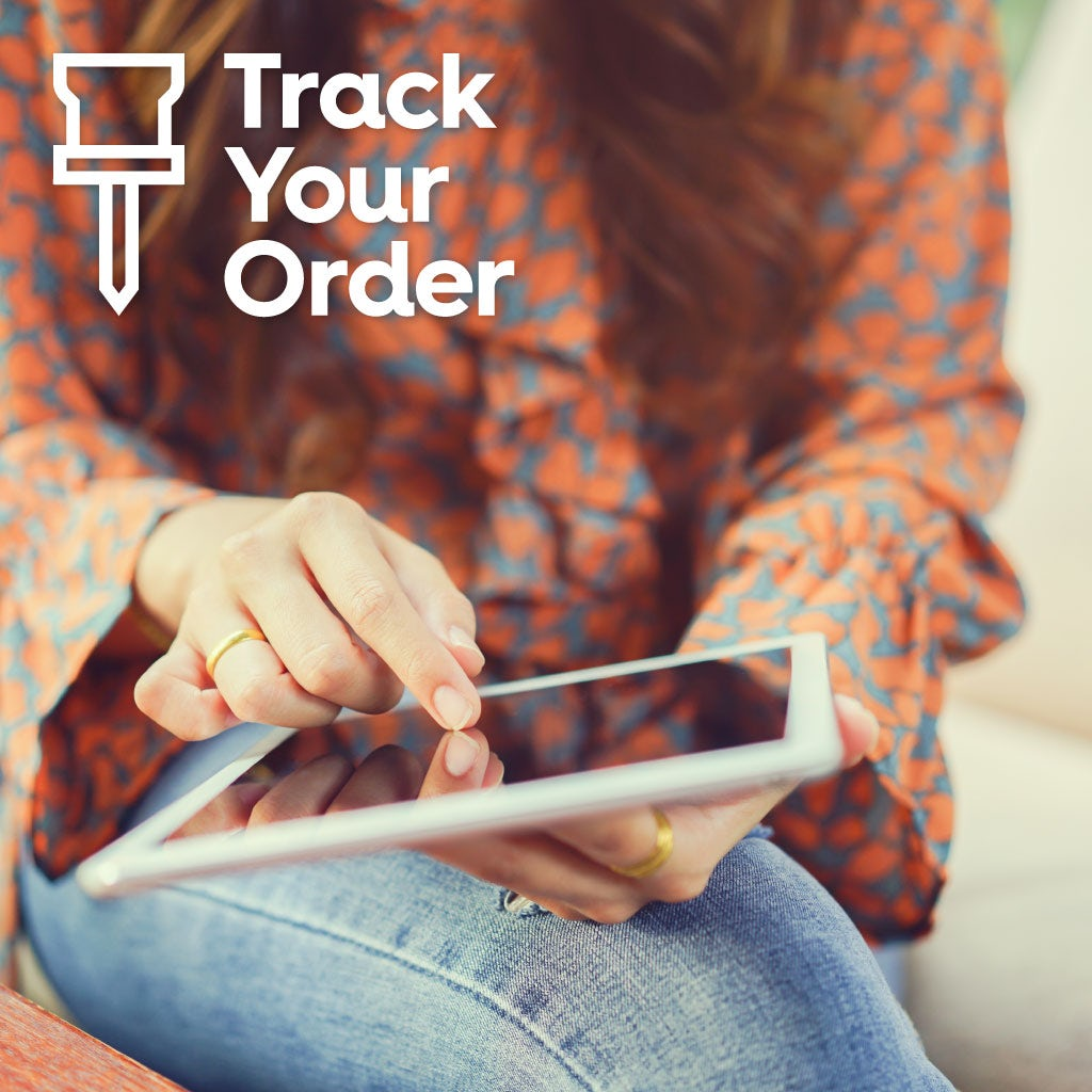 Person looking at the track your order page on a tablet