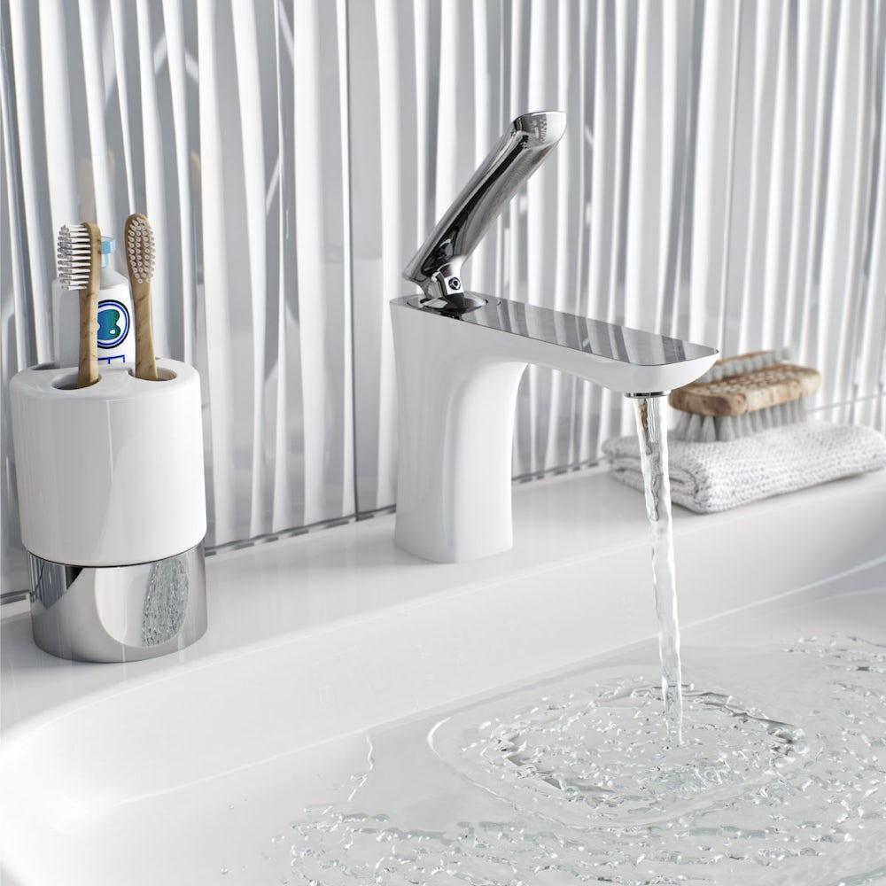 Aalto white basin mixer tap