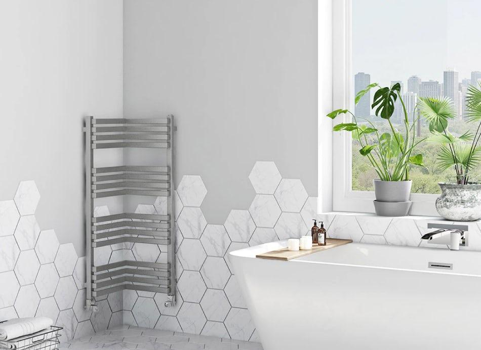 Corner Terma radiator on a bathroom wall