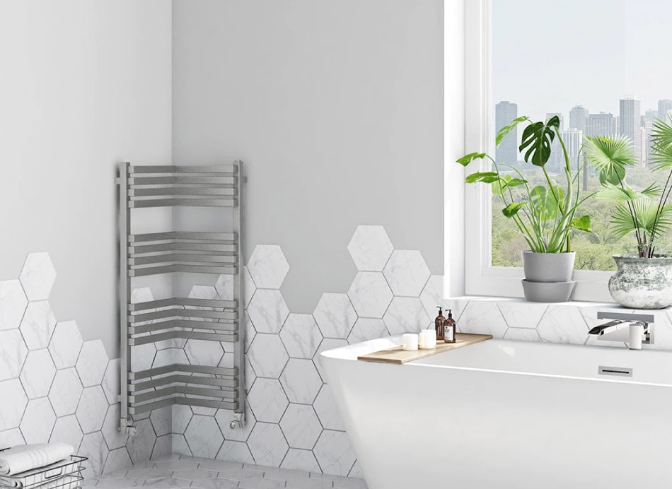 Corner Terma radiator on a bathroom wall