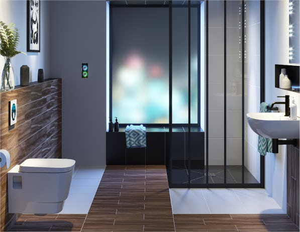 A stylish bathroom for a partially-sighted person