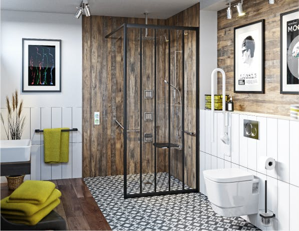 A stylish bathroom for a wheelchair user