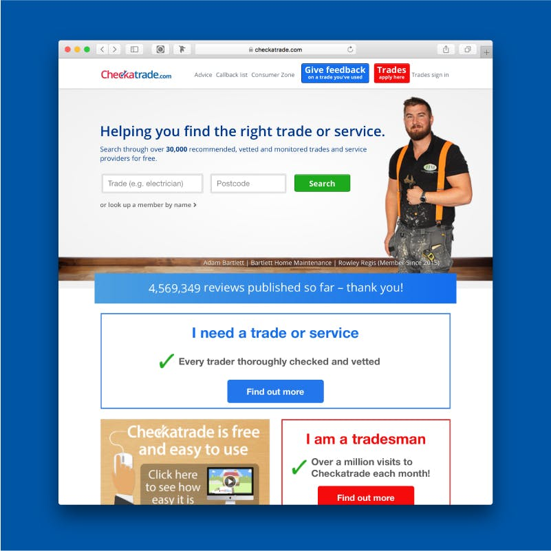 How do I search for a Checkatrade trade?