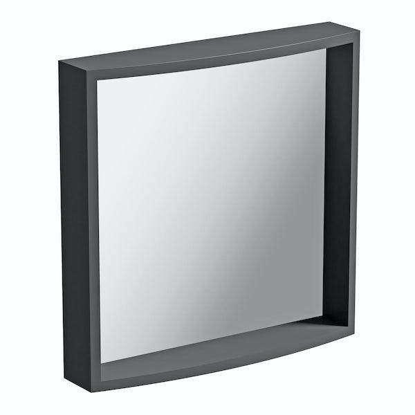 Mode Harrison slate gloss grey bathroom mirror 550 x 550mm