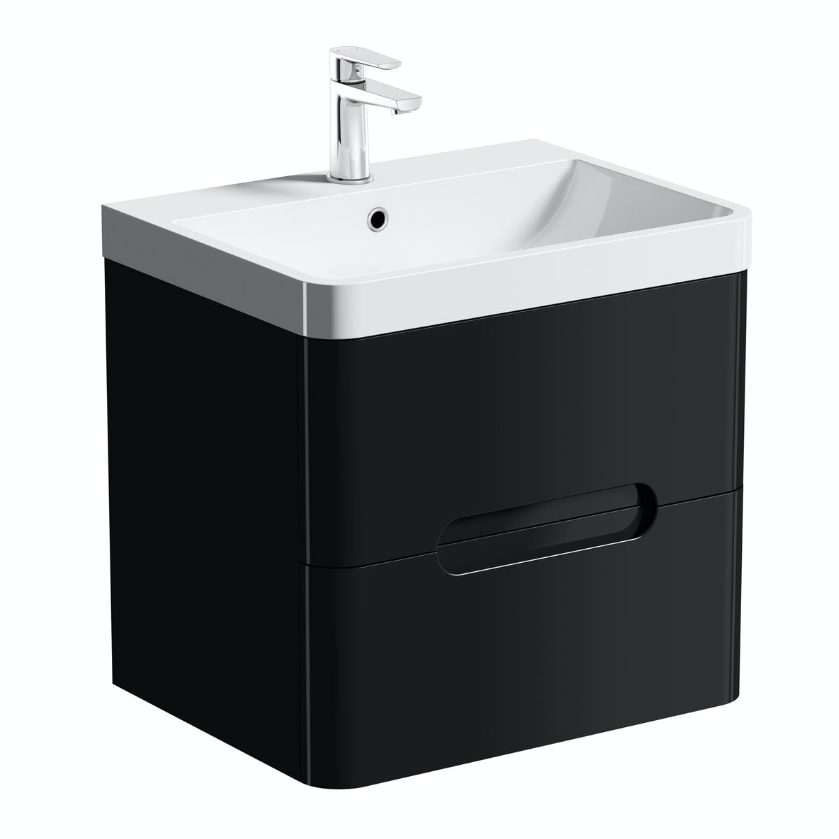 Mode Planet Black Wall Hung Vanity Drawer Unit And Basin