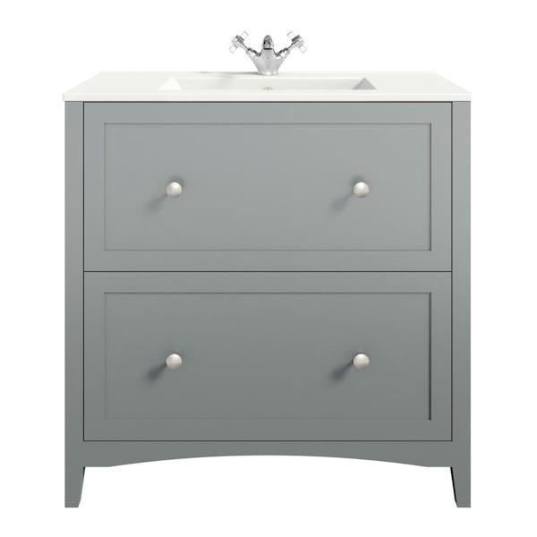 The Bath Co. Camberley satin grey vanity unit with basin 800mm