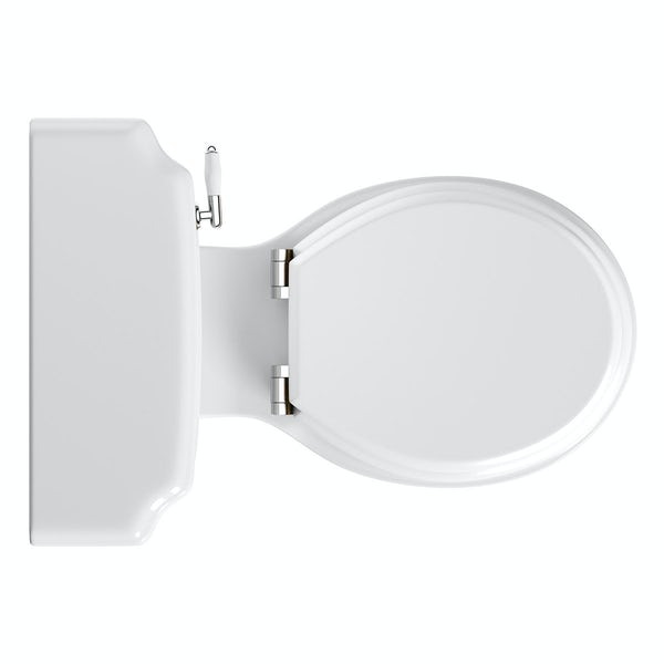 Dulwich close coupled toilet with soft close wooden toilet seat white