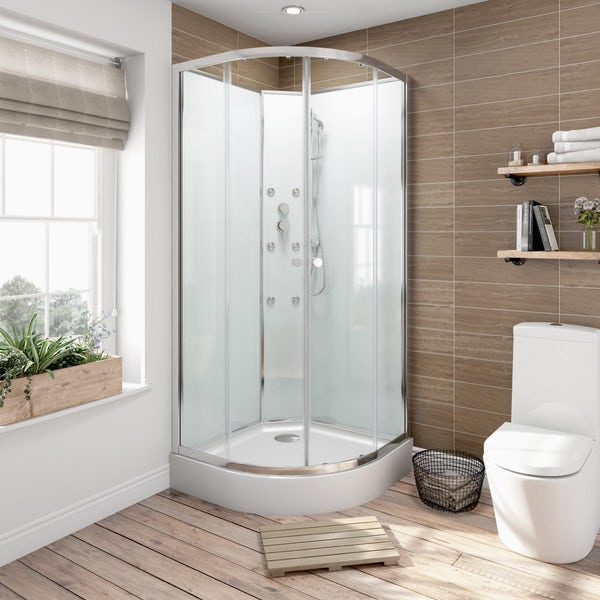 V6 Quadrant Glass Backed Shower Cabin 900