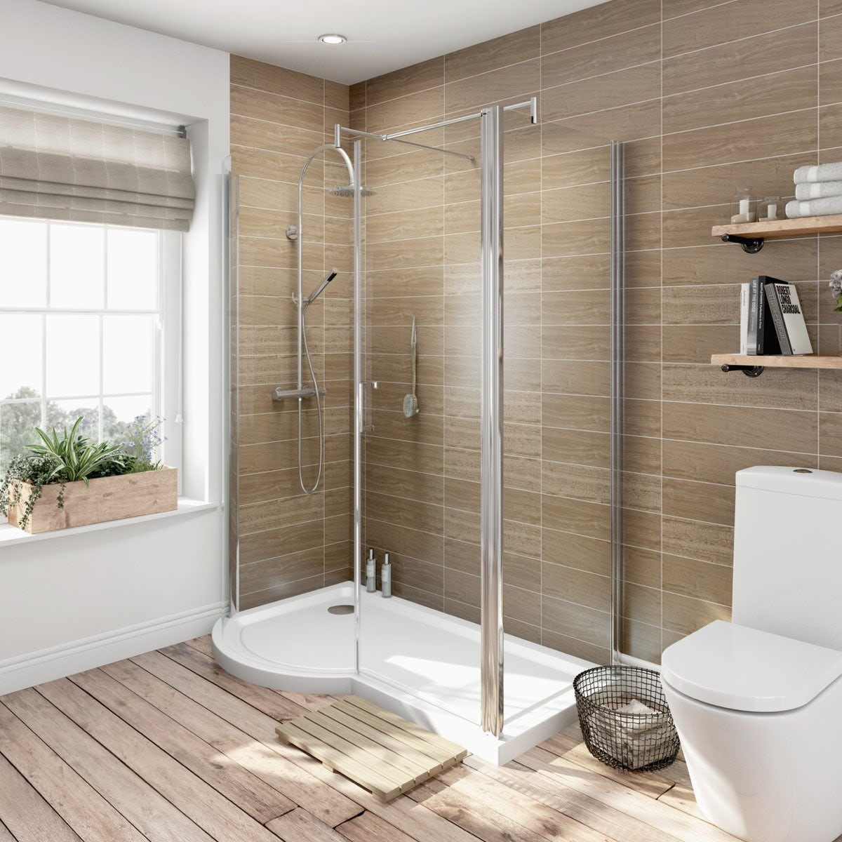 Orchard 6mm Left Handed P Shaped Shower Enclosure With Tray 1500 X 700 Victoriaplum Com