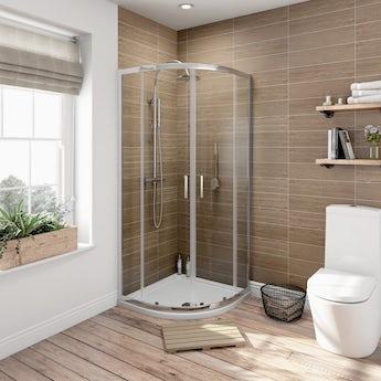 Orchard 6mm sliding quadrant shower enclosure 800 x 800 offer pack