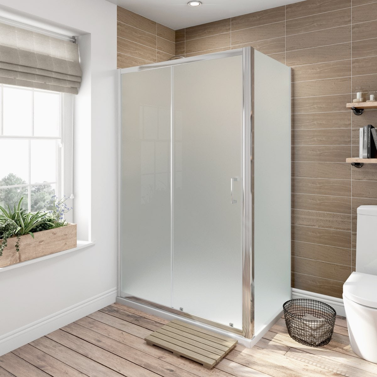 6mm Frosted Glass Sliding Shower Enclosure 1200 X 900