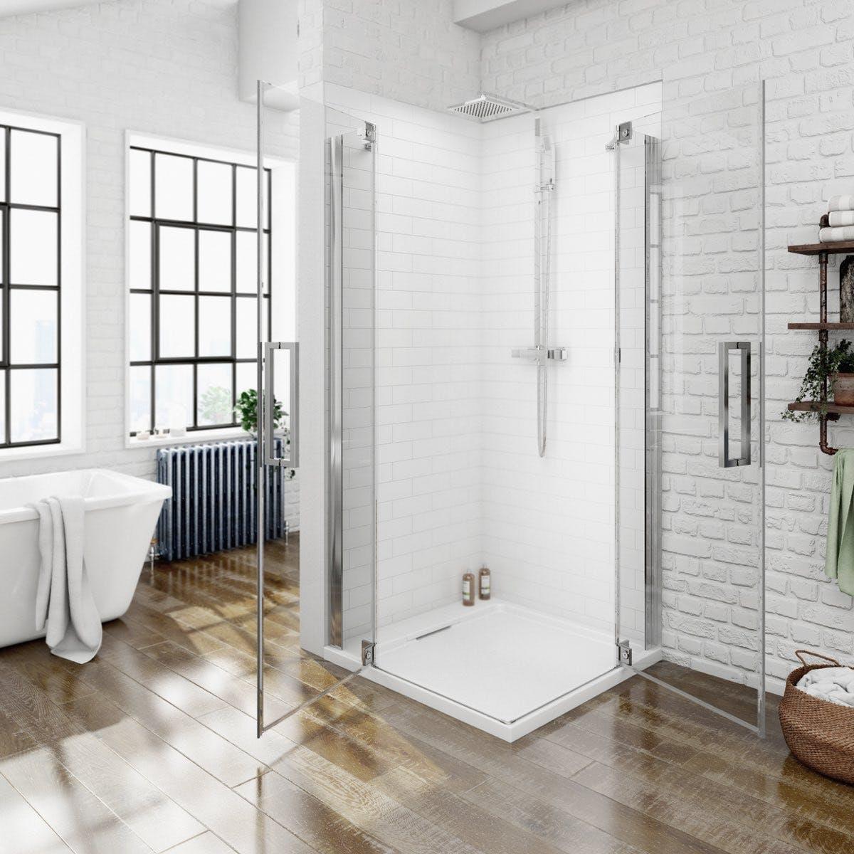 Luxury 8mm Frameless Corner Entry Hinged Shower Enclosure 800 X 800