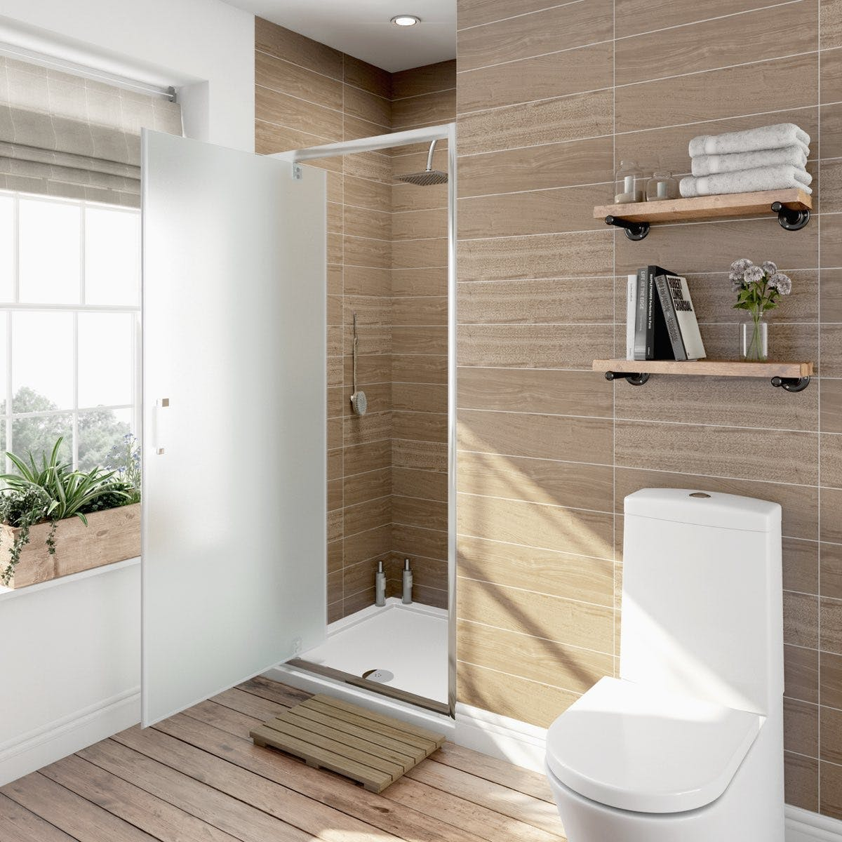 6mm Frosted Glass Pivot Shower Door 900mm