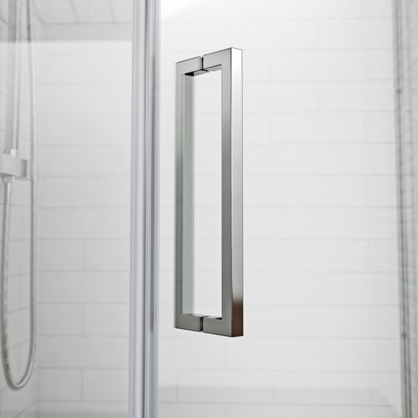 Mode luxury 8mm right handed frameless pentagonal shower enclosure with tray 900 x 900