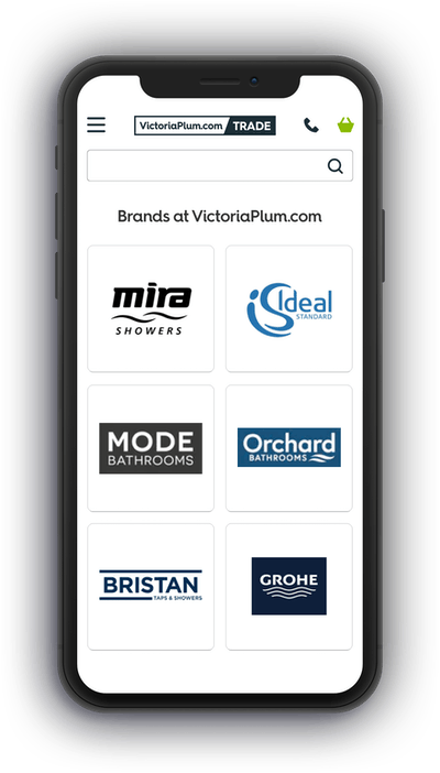 Victoriaplum.com brands page shown on a mobile phone