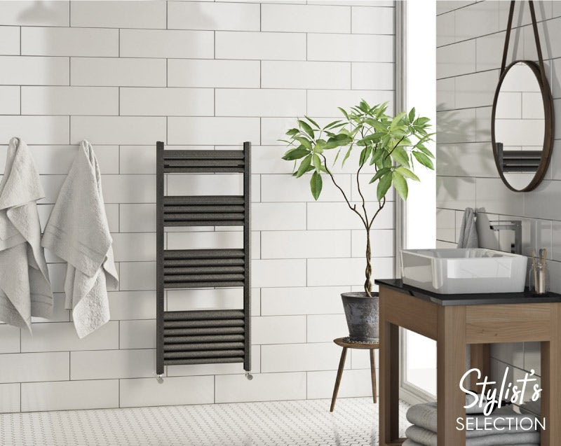 Mode Carter charcoal black heated towel rail 1020 x 500