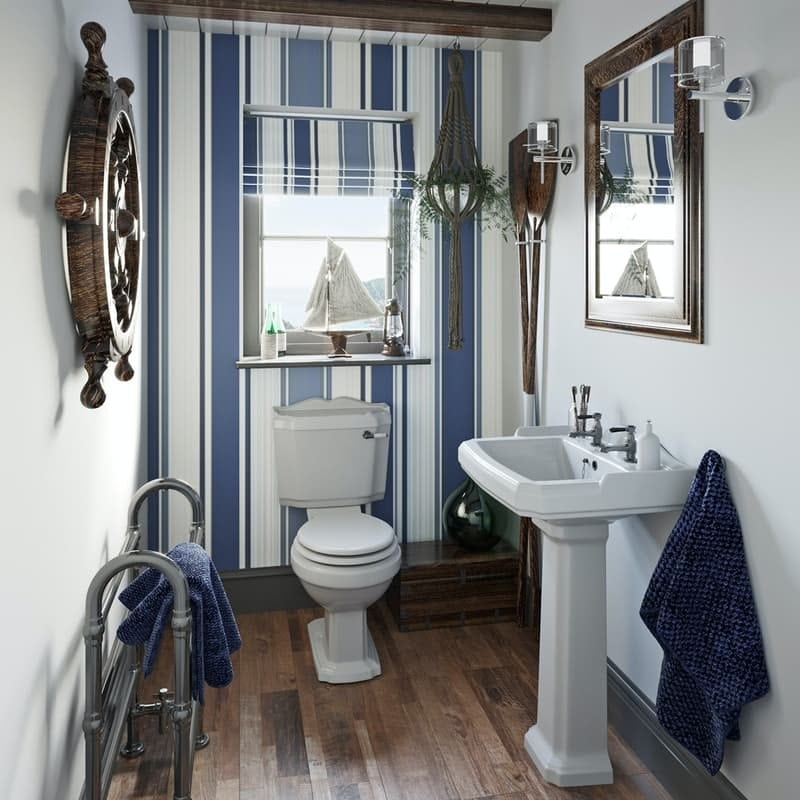 Orchard Winchester cloakroom suite with white seat and full pedestal basin 600mm