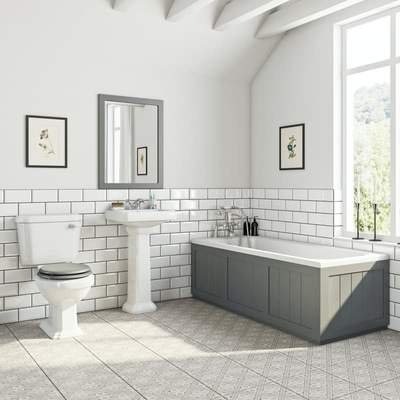 The Bath Co. Dulwich white and stone grey bathroom suite with straight bath 1700 x 700mm