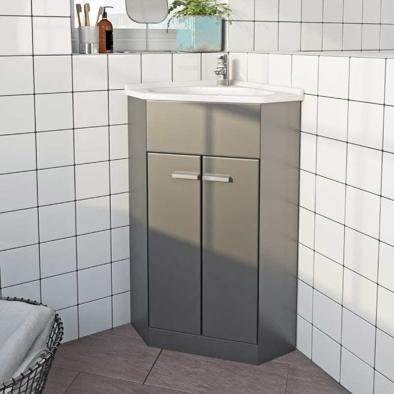 Clarity Compact satin grey corner floorstanding vanity unit and ceramic basin 580mm