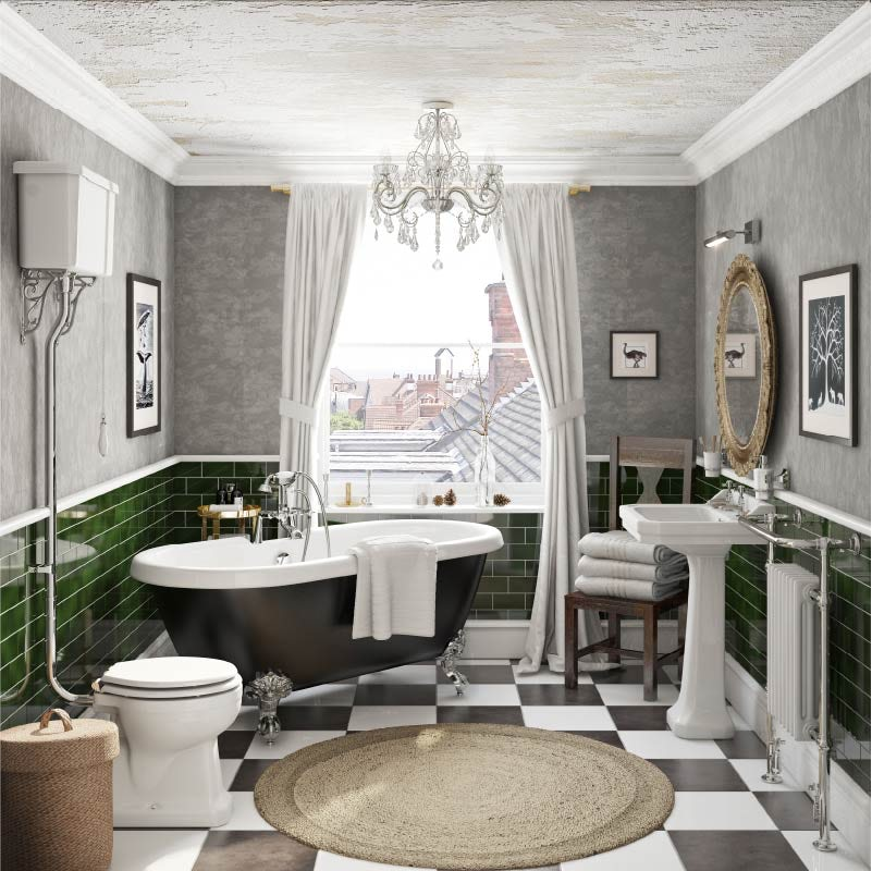 Vintage Chic in an average-sized bathroom