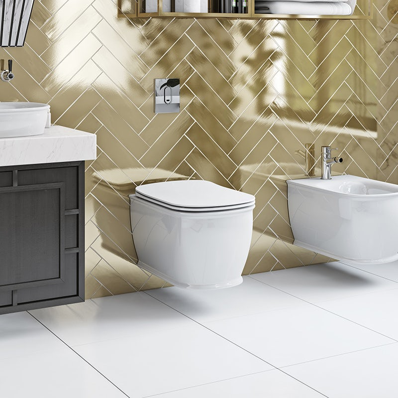 Beaumont wall hung toilet with soft close seat