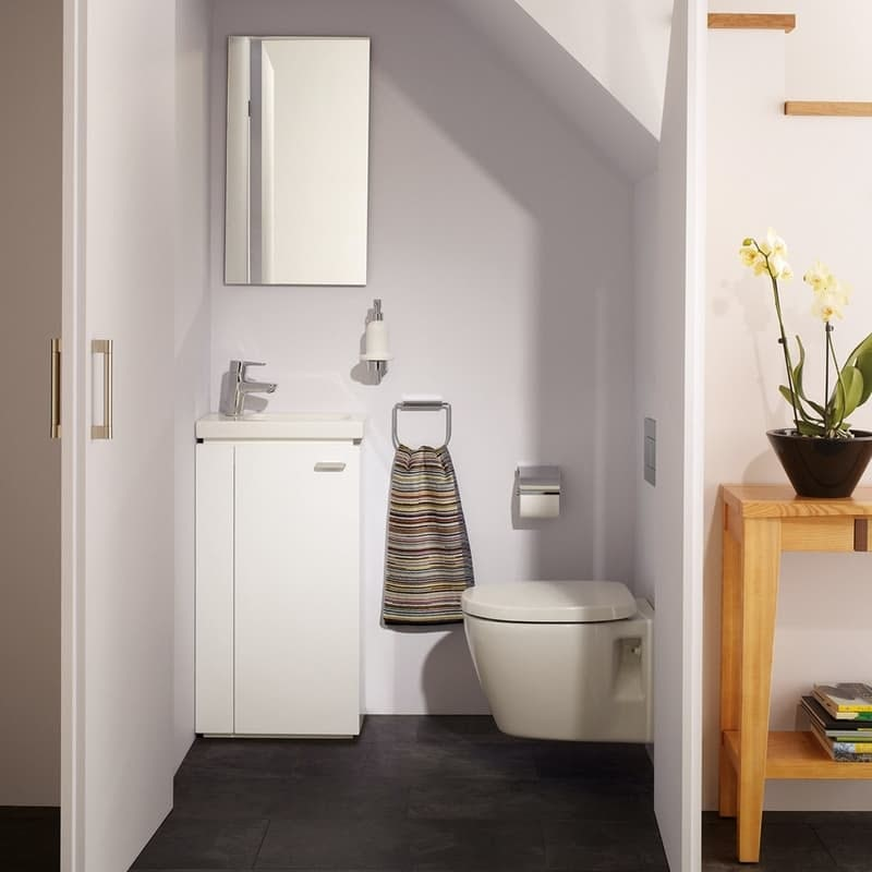 Ideal Standard Concept Space white floorstanding vanity unit and left handed basin 450mm