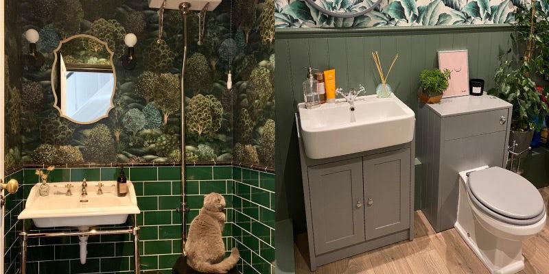 Go green with bold bathroom wallpaper