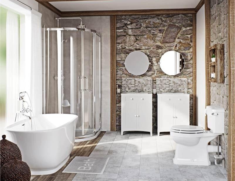 Rustic bathroom floors and walls