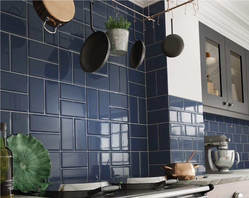 Deep Metro dark blue bevelled gloss wall tile 100mm x 200mm