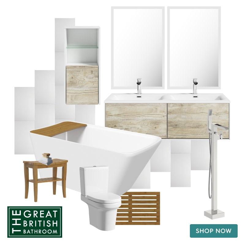 Natural Elements neutral bathroom mood board