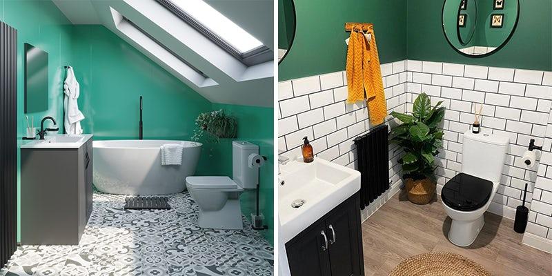 Green colour blocking in bathrooms