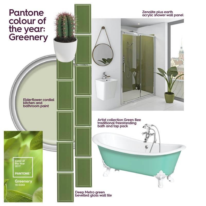 Green bathroom ideas mood board
