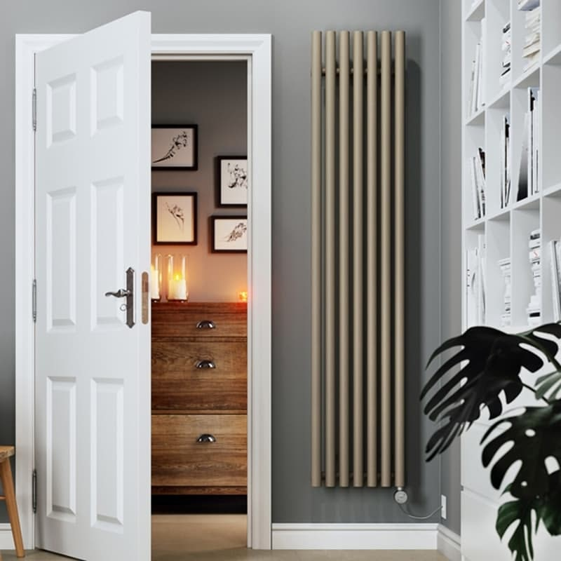 Terma Rolo Room E quartz mocha electric radiator 1800 x 480 with MOA Blue element - silver