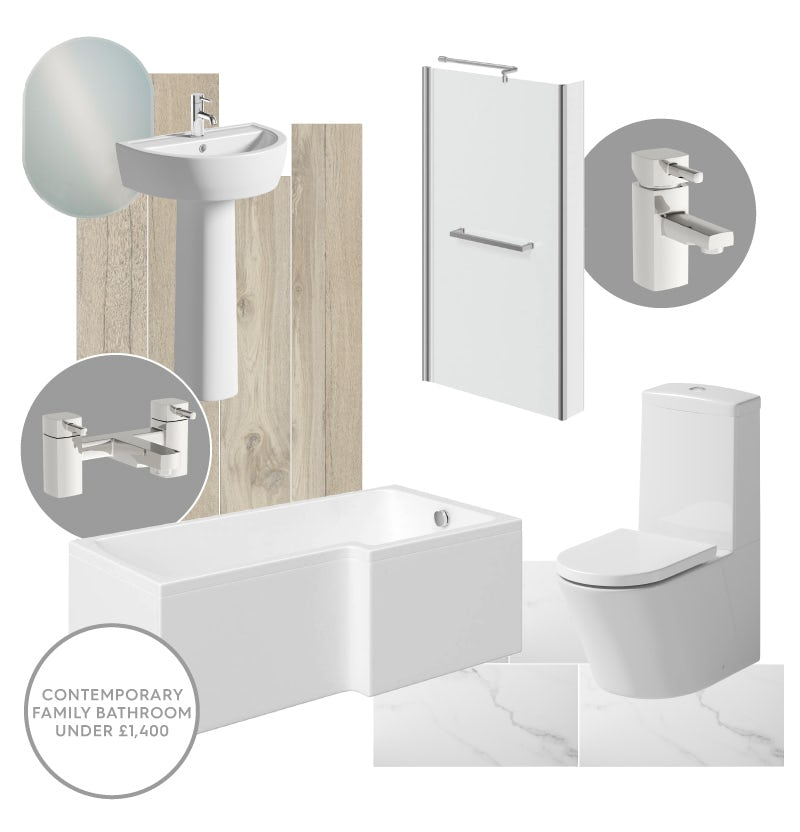 Stylish contemporary family bathroom for under £1,400