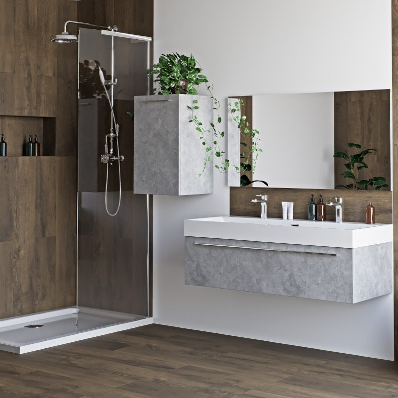 Morris dark concrete grey bathroom furniture