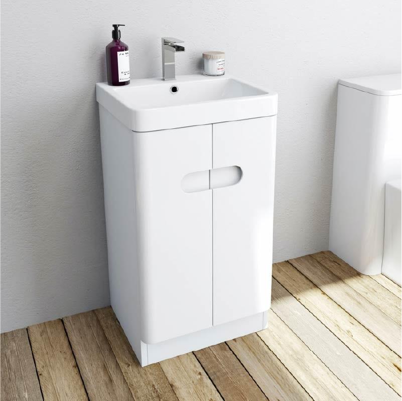 Mode Ellis white cloakroom floorstanding vanity unit and basin 450mm