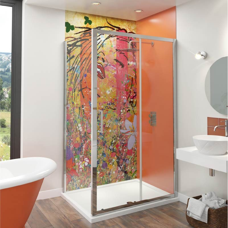 Louise Dear Yum Yum Orange acrylic shower wall panel pack with rectangular enclosure