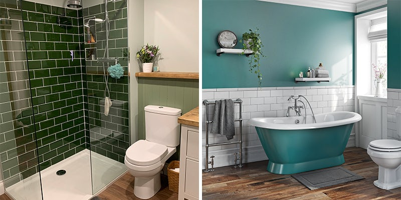 Green block bold colours in bathrooms