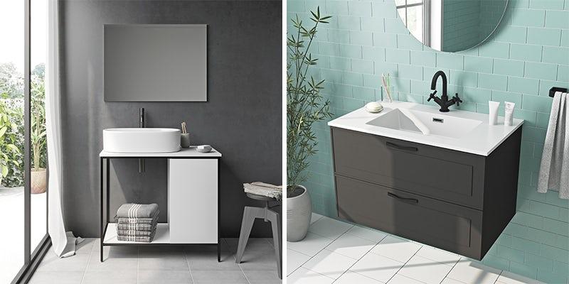 Black accents bathroom furniture