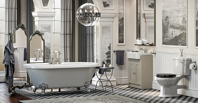 The Bath Co. Dulwich complete freestanding bath and ivory furniture suite