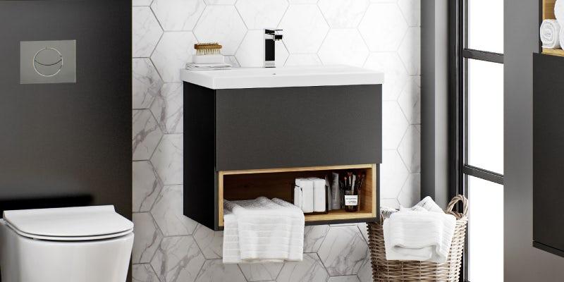 Mode Tate anthracite black & oak wall hung vanity unit and ceramic basin 600mm