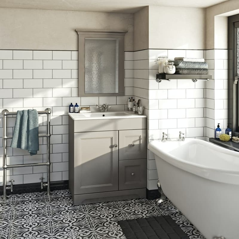 Orchard Winchester graphite grey bathroom mirror 750 x 600mm