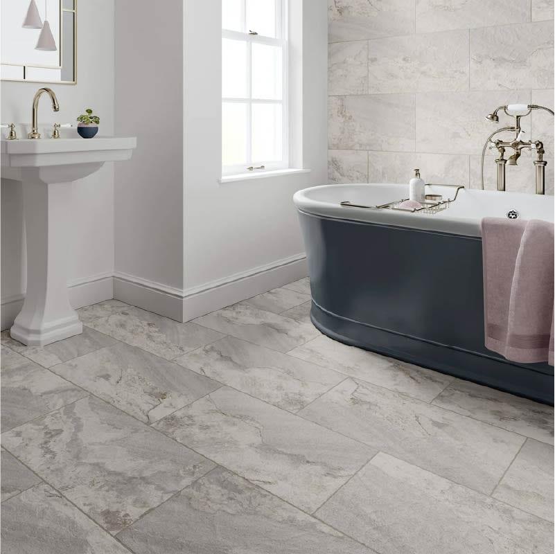 Meridien white stone effect matt wall and floor tile