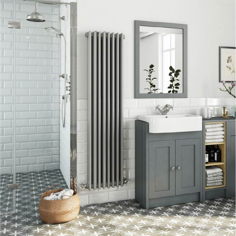 The Heating Co. Santa Fe stone grey vertical double column radiator 1500 x 380